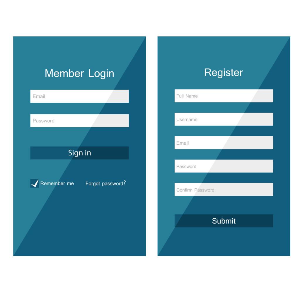 Registration and login form, flat UI design